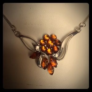 🌟NIP: STERLING SILVER GENUINE AMBER NECKLACE&Gw/P